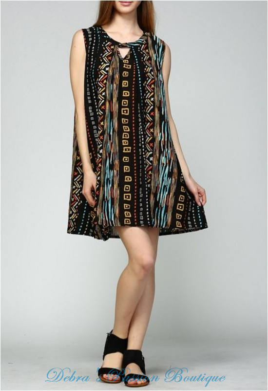 Velzera Geometric Shift Tunic Dress - Black