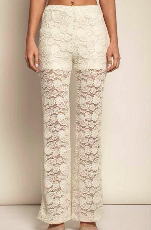 Umgee Sweet Floral Lace Pants - Ivory