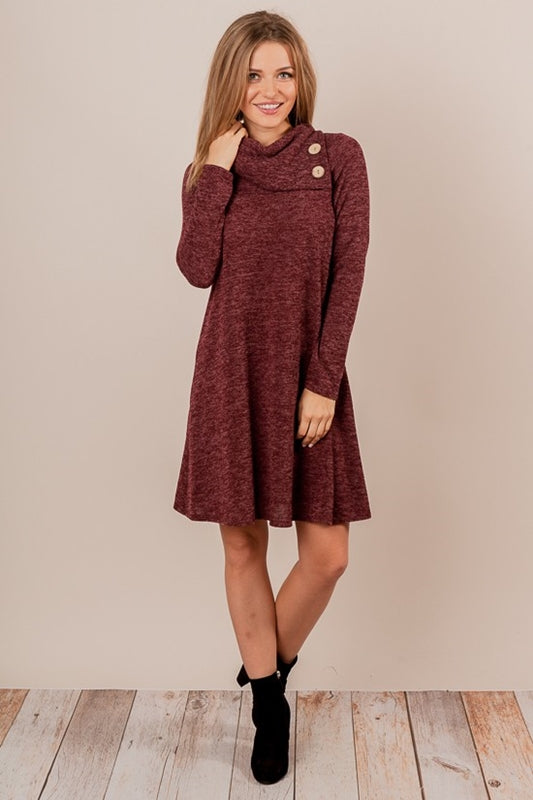Adel Heather Knit Dress - Wine