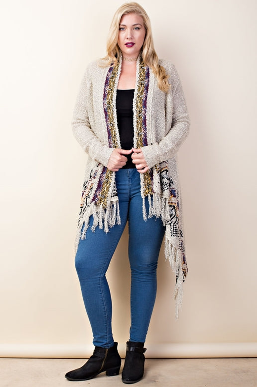 LLove Sassy Lady Border Fringe Cardigan - Heather Gray