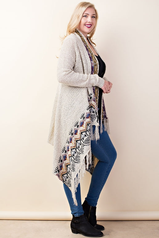 LLove Sassy Lady Fringe Cardigan - Heather Gray