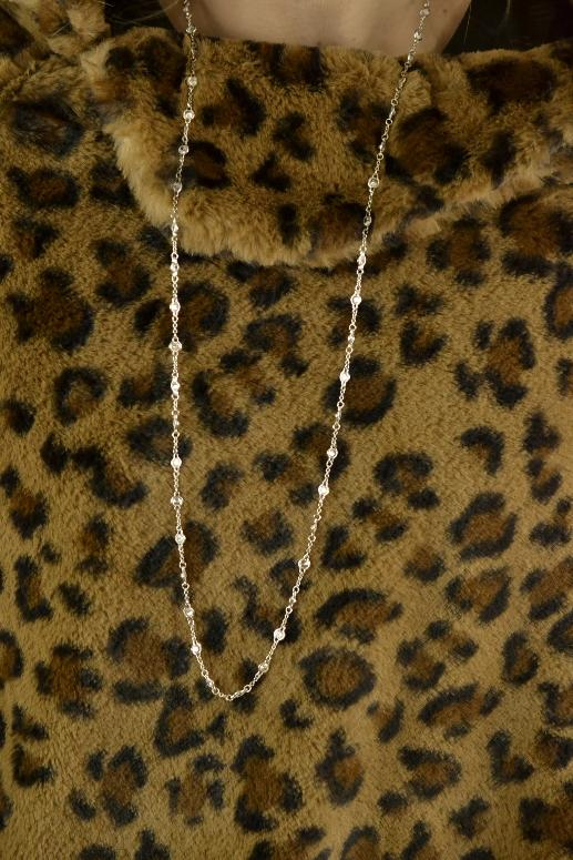 "CZ Chain Necklace 34"" - Silver"