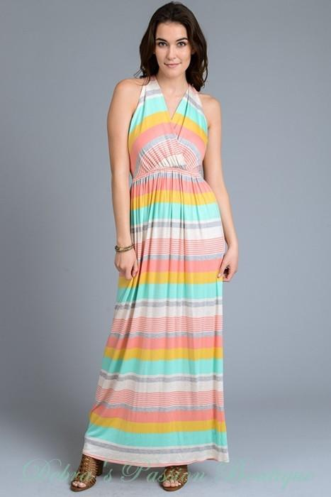 Gilli Twist Racerback Stripes Maxi Dress - Yellow Coral - Debra's Passion Boutique - 1