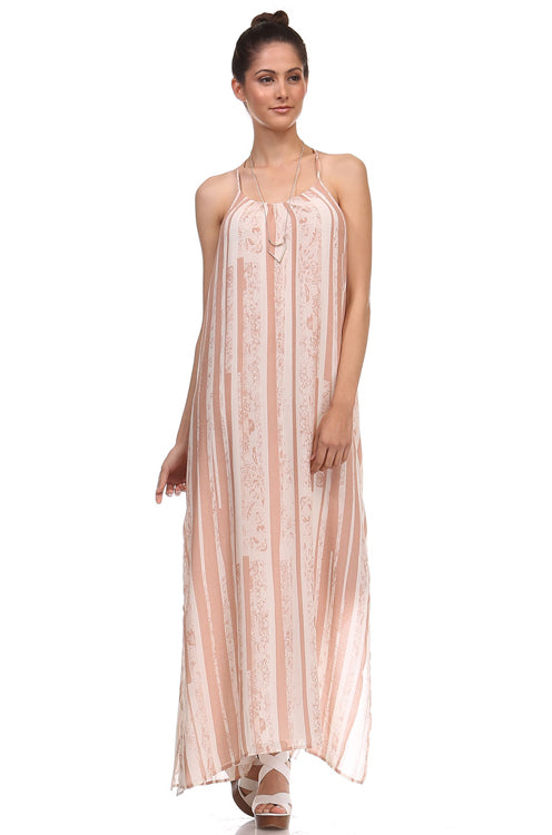 Honey Punch T Back Strappy Maxi Dress - Rose Latte