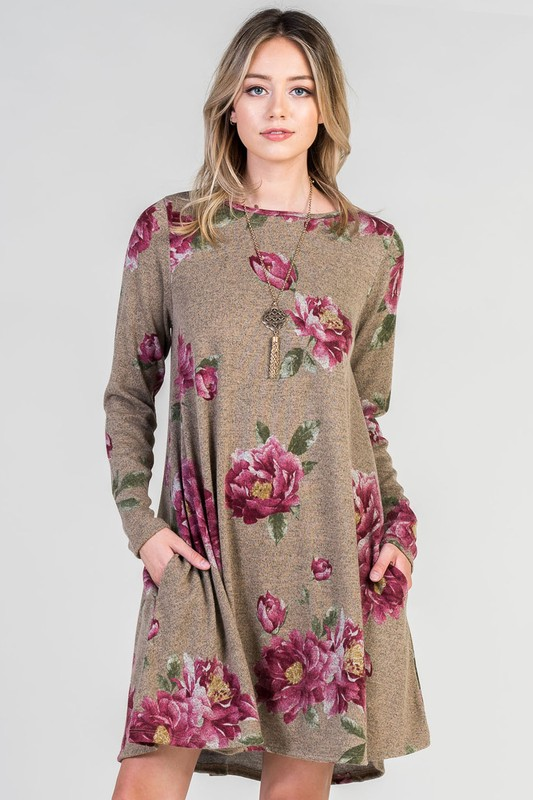 a2753427f9 Bellamie Floral Sweater Dress - Mocha – Debra s Passion Boutique