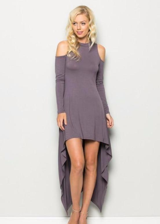 Grace and Cute Hi Lo Cold Shoulder Dress  - Annabelle - Purple Taupe - Debra's Passion Boutique - 1