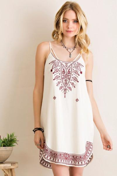 Summer Breeze Embroidery Dress - Entro - Natural - Debra's Passion Boutique - 1