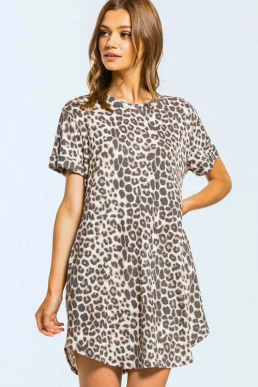 Cherish Leopard Thermal Short Sleeve Dress - Taupe