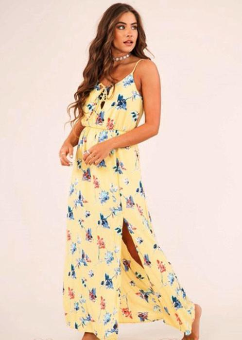 Peach Love Lace Up Neck Floral Maxi Dress -Yellow