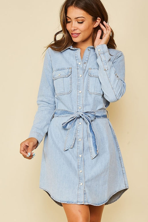 Toast Jeans Denim Belted Dress
