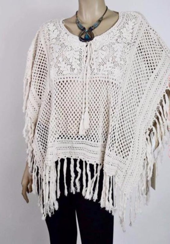 Emily Fringe Poncho Top with Drawstring- Cream - Debra's Passion Boutique - 1