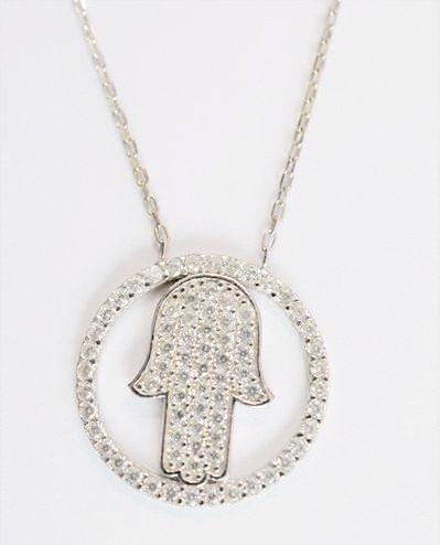 Sterling Silver 925 Charm Necklace - CZ Circle Hamsa Hand - Debra's Passion Boutique