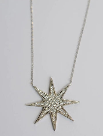 CZ Sterling Silver 925 Charm Necklace - Star - Debra's Passion Boutique