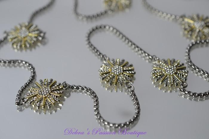 "Starburst Cubic Zirconia Beads Necklace 36"" Silver Chain - Debra's Passion Boutique - 2"