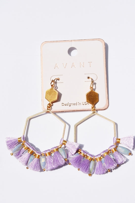 Hex Dangle Tassel Earrings - Lilac