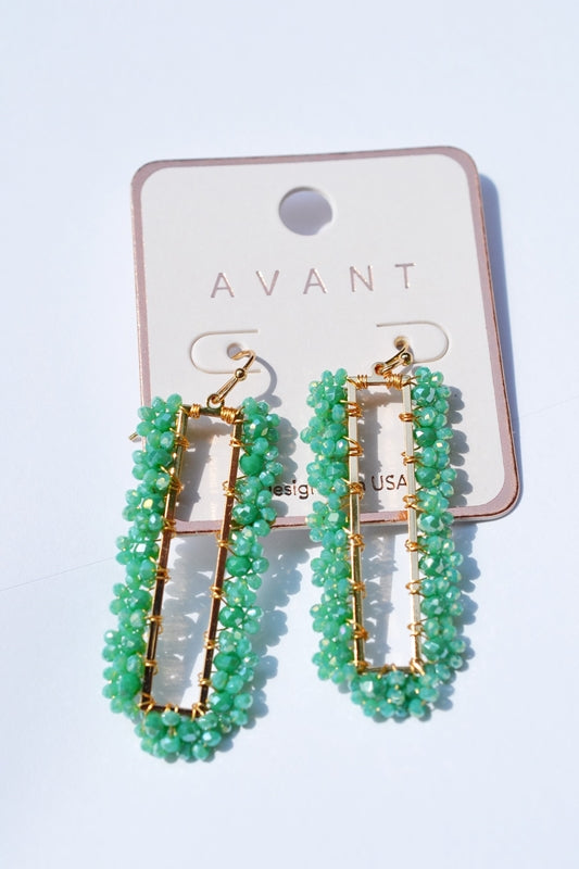 Emerald Beaded Dangle Earrings