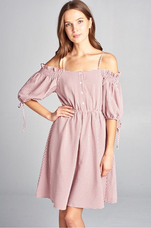 Off Shoulder Gingham Dress - Dusty Pink