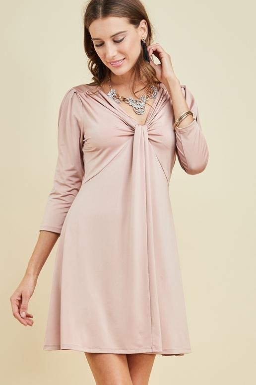 Entro Knot Front Dress - Blush