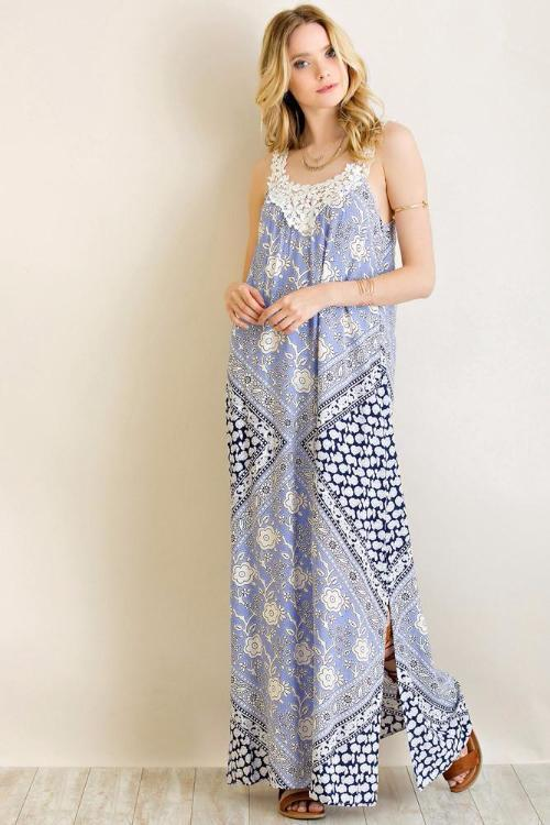 Entro Printed Floral Maxi Dress - Blue