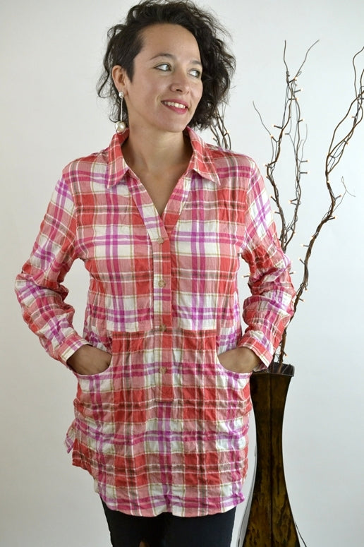 Entro Plaid Roll Up Sleeve Boyfriend Shirt - Red Pink