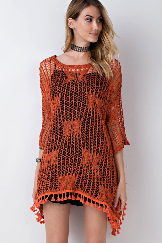Easel Loose Fit Knit Sweater with Tassel Trim - Rust