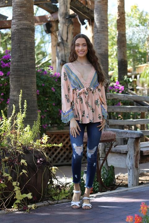 Angie Boho Bell Sleeve Pink Top