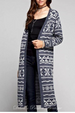 Fair Isle Cardigan Long Sweater - Navy