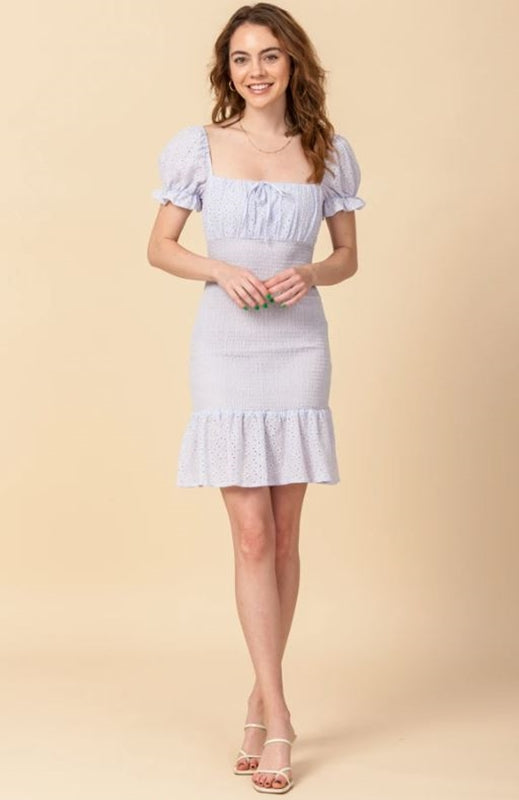Sweetness Eyelet Bodycon Dress - Lavender
