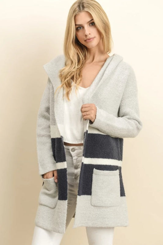 Dress Forum Roastie Toastie Hooded Cardigan - Gray Navy