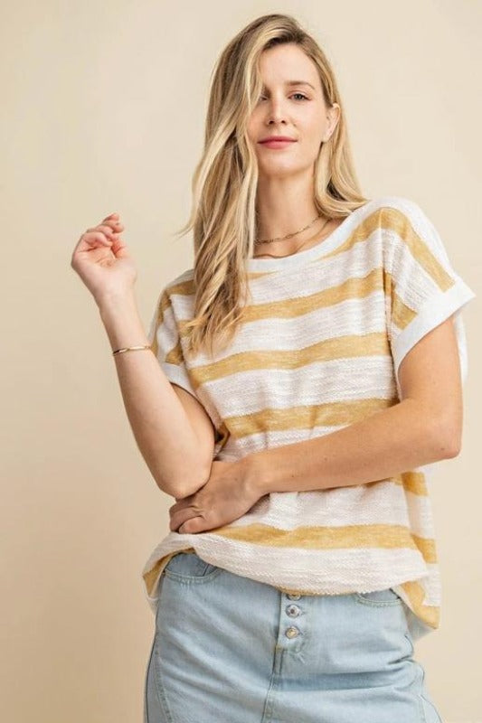 Kori Knit Textured Top - Mustard