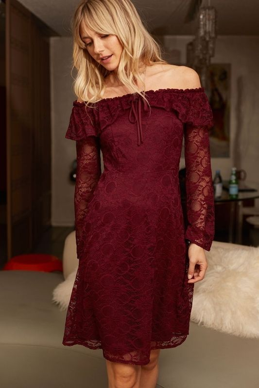 Burgundy Off Shoulder Sassy Lace Holiday Midi Dress