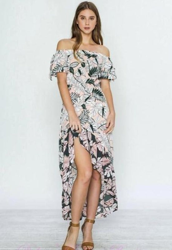 Flying Tomato Pink Floral Leaves Hi Lo Dress - Debra's Passion Boutique - 1