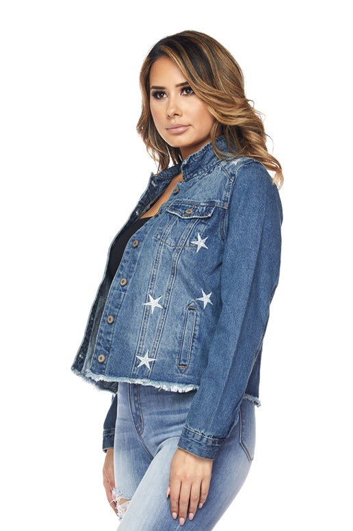 Starry Night Denim Jacket - Stars