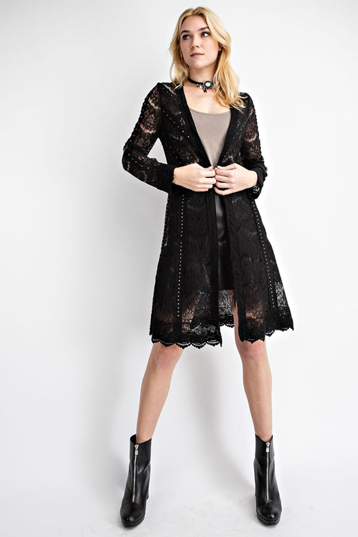 Vocal Suede Lace Scallop Hem Cardigan - Black