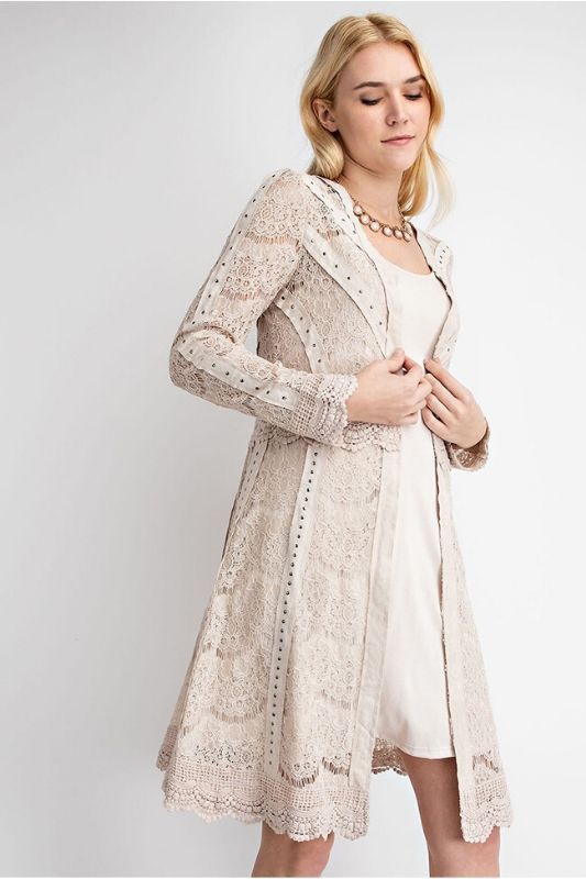 Vocal Suede Lace Scallop Hem Cardigan - Natural