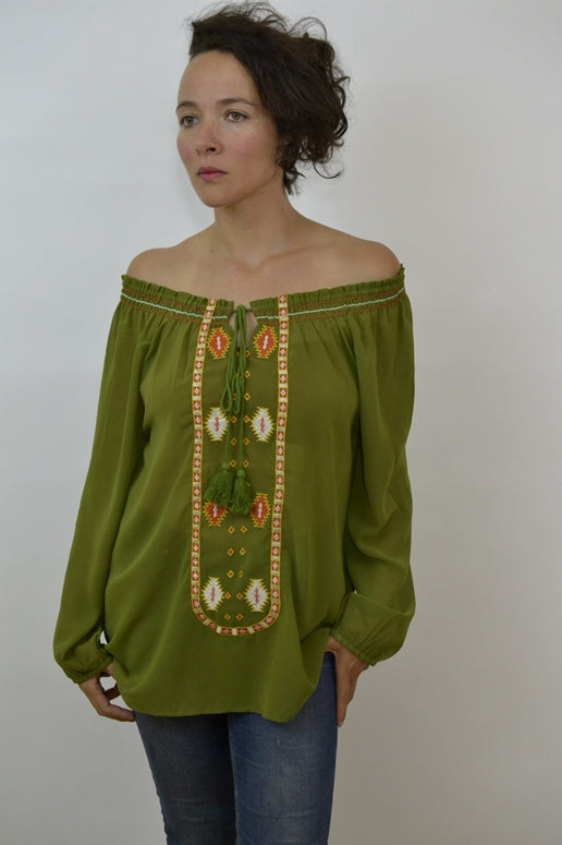 Urban Mango Chiffon Embroidered Blouse- Olive