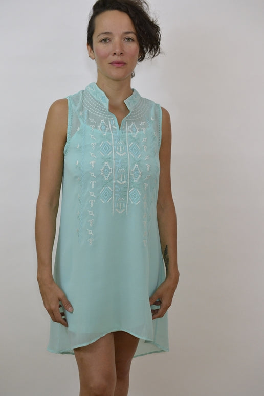 Monoreno Mandarin Tunic Dress - Ice Blue