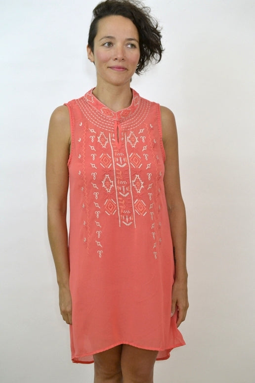 Monoreno Mandarin Tunic Dress - Salmon