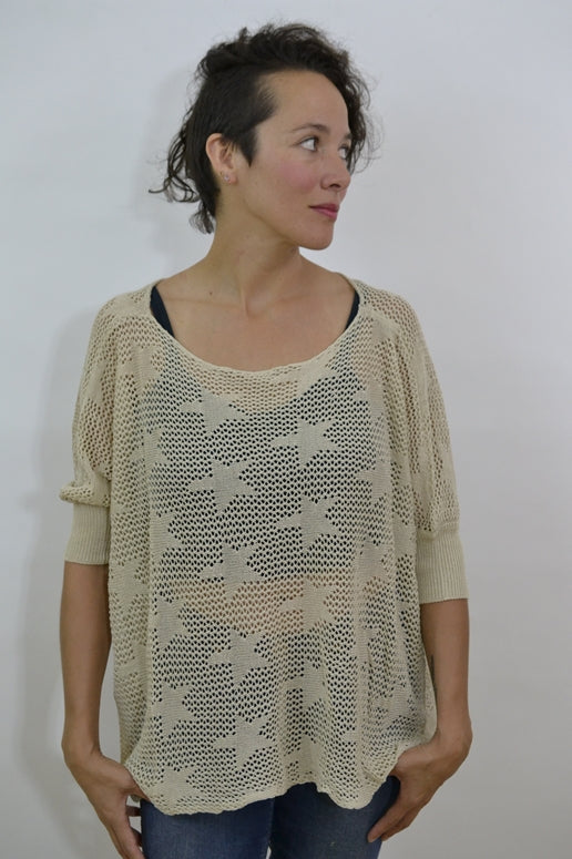 Honey Punch Stars Sweater Top - Taupe