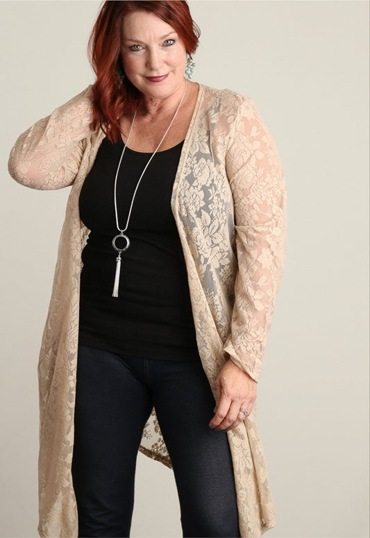 Taupe Lace Plus Cardigan