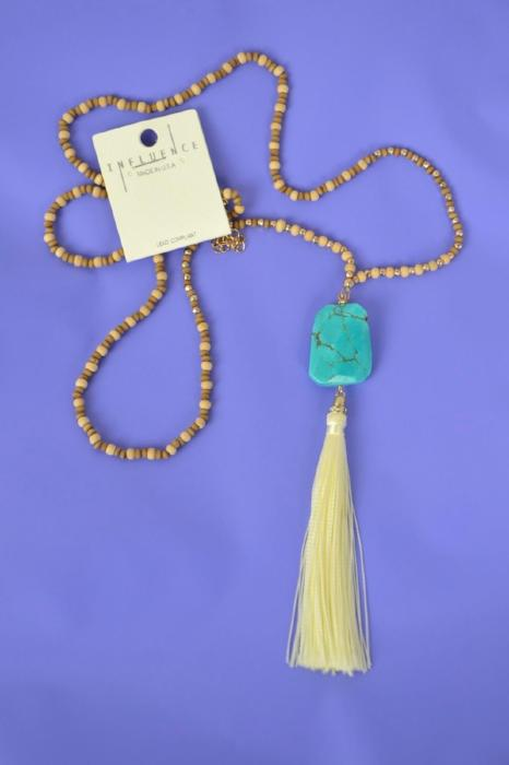 Wood Beaded Tassel Necklace - Turquoise, Ivory