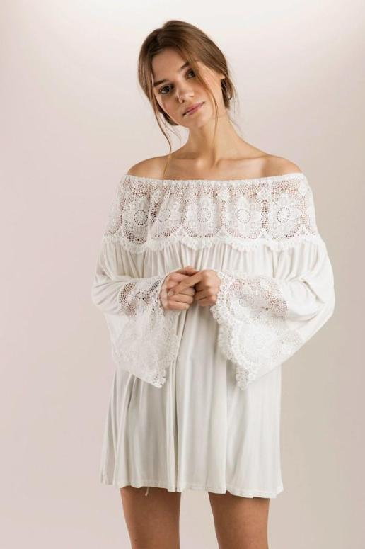 POL Bohemian Vintage Blouse On/ Off Shoulder - Ivory - Debra's Passion Boutique - 1