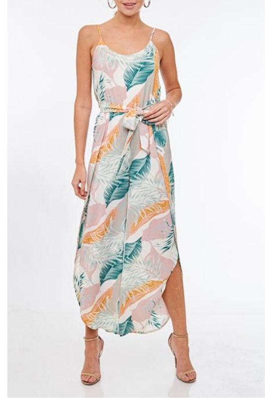 Tulip Cut Tropical Jumpsuit - Off White