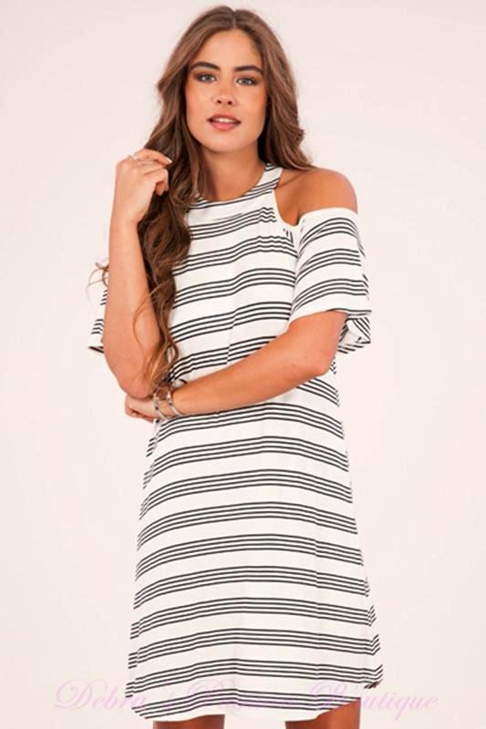 Peach Love Cold Shoulder Knit Dress - Ivory Black