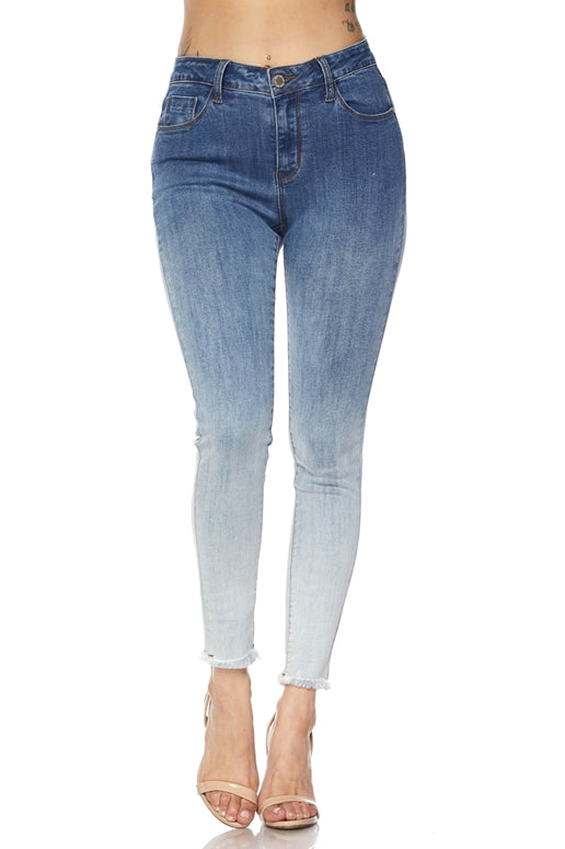 Ombre Denim Skinny Fringe Ankle Junior Jeans - 8th of LA