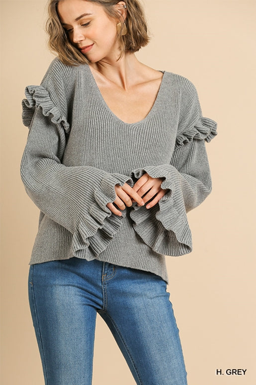 Umgee Ribbed Knit Top - H. Grey