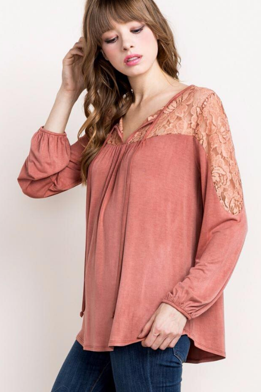 Mittoshop Lace Panel Soft Blouse - Rust