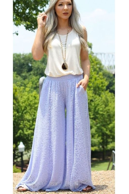 L&B Wide Leg Lace Pants - Lavender