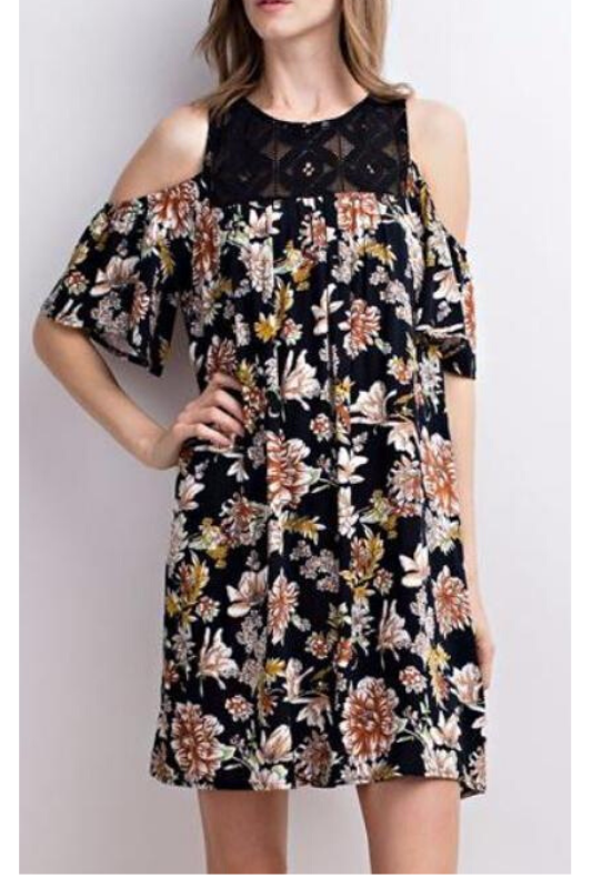 Open Shoulder Black Floral Dress