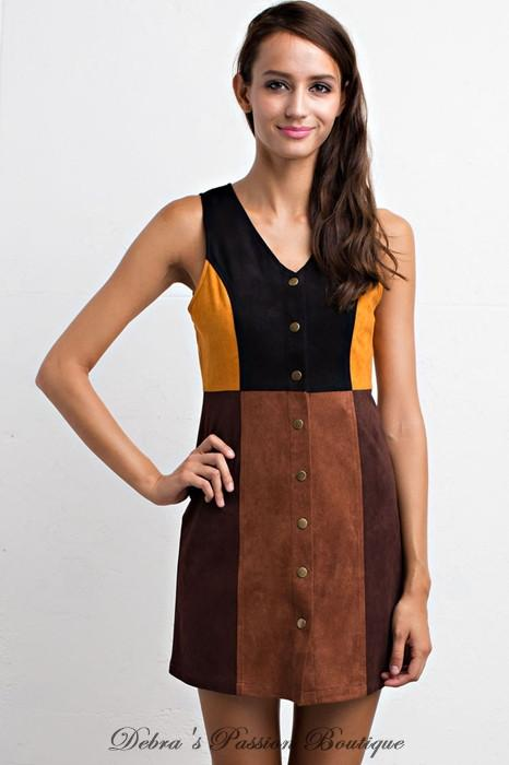 Lunik V Neck Brown Multi Suede Colorblock Dress - Debra's Passion Boutique - 1
